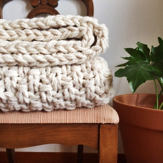 HSFN Sweater Blanket White Chunky Knit Blanket Wool Knit