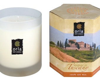 Cedar & Saffron Scented Candle Natural Soy Wax Weekend in Tuscany 7.5 oz. Orla Soy Candle Rhode Island