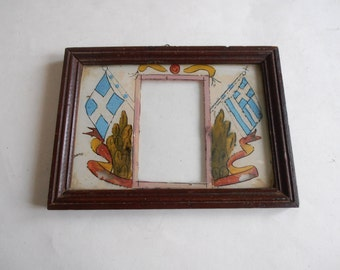 antique reverse painting glass picture frame, Greek flags