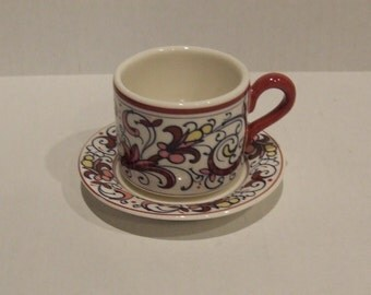 Retro Coffee Cup, Espresso Cup and Saucer, Gift for Her, China Cup, Saucer, Burgundy, Black, Kitchen Decor, Tea Cup and Saucer, Tea Cup Set