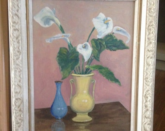 Vintage Framed Oil Painting- Floral Calla Lilies Still Life
