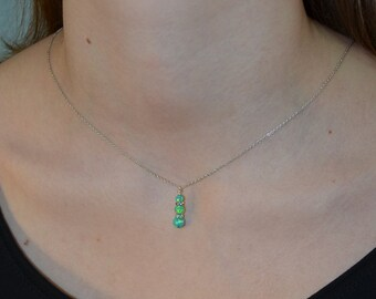 Green Opal Necklace Silver, Opal Drop necklace, Opal jewelry, Gemstone necklace, Stone necklace, Simple necklace, Opal pendant