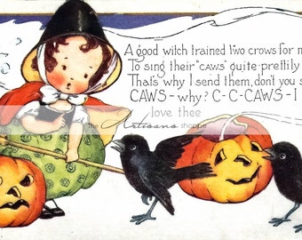 Digital Download Printable - Vintage Halloween Crows Pumpkin Witch Halloween Greeting Postcard Image - Paper Crafts Scrapbook Altered Art