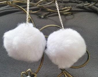 White Pom Pom Earrings - Pom Pom Earrings - White Pom