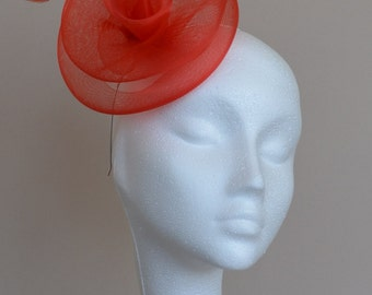 Red feather fascinator. Handmade fascinator. Wedding fascinator. Ascot fascinator. Derby fascinator.