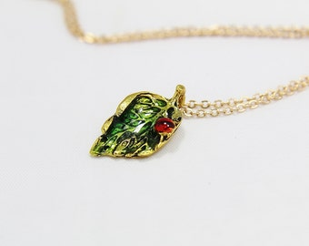 Personalized Gold Charm Necklace, Gold Leaf with Lady Red Bug Pendant Necklace, Lady Bug Necklace, Leaf Necklace, Woodland Jewelry
