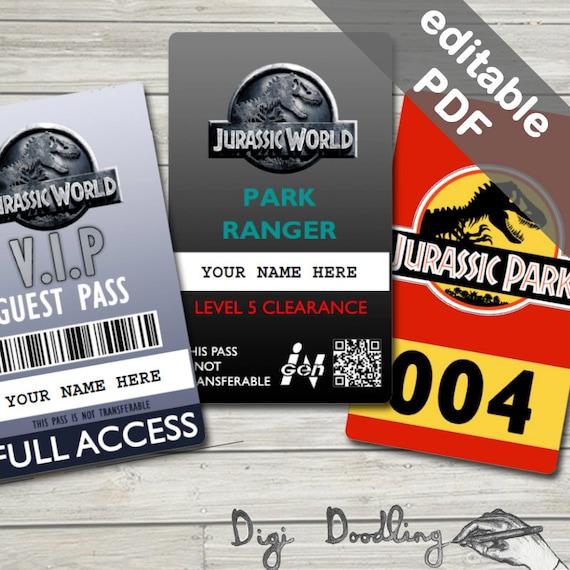 jurassic world costume jurassic world id badge visitor pass