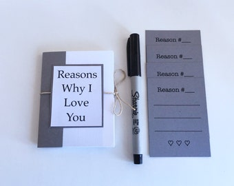 Black and White Reasons Why I Love You, Anniversary Gift, Gift for Husband, Gift for Boyfriend, 4x3 Book, Love Book, Mini Love Notes