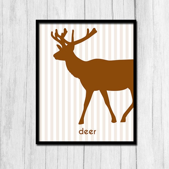 Wall Art Of Deer : Deer printable wall decor poster digital download animal