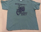 Vintage motorcycle tshirt Harley World War 1 Over There Harleys 1917 olive-green 100% cotton Gildan short sleeve graphic tee