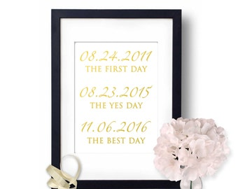 wedding dates sign, important dates sign, Gold foil Wedding signs, Gold Foil Print, Love Story, The first day, the yes day, Wedding print