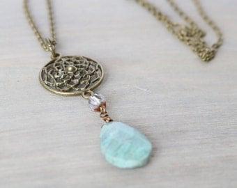 Ruby Fuchsite Gemstone Long Pendant Necklace - Flower, Pendant, Faceted Glass, Bronze Metal