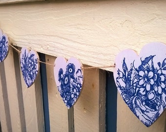 SALE - Heart Bunting, Blue Floral, Wooden Heart Bunting, Decoupage, Vintage Style, Shabby Chic, Heart Garland