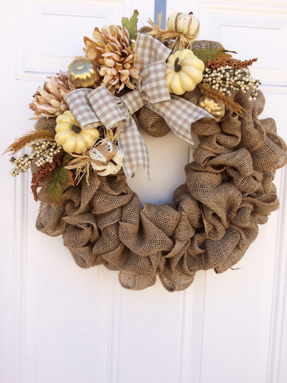 Fall Burlap Wreath Thanksgiving Wreath Fall Wreath Neutral