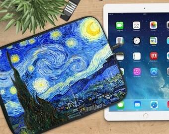 Starry Night by Van Gogh Ipad Sleeve, Van Gogh Neoprene Tablet Sleeve, Soft Ipad Sleeve, Ipad 2/3/4, Ipad Air Sleeve, Tablet Travel Case