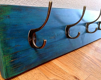 Blue Teal Green Distressed Wood Coat Rack, Rustic, Vintage, Shabby Chic, Wall Hooks, Wall Decor