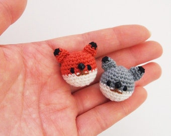 Wolf, Fox  - Crochet Brooch, Corsage, Accessory, Amigurumi