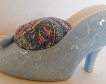 1970's Blue Shoe Pincushion
