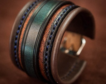 Leather bracelet cuff blue and dark brown lined and hand sewn - Made by Bandit