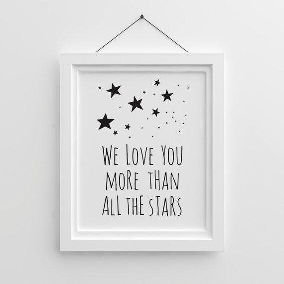 kids wall art we love you more than all the stars gender. Black Bedroom Furniture Sets. Home Design Ideas