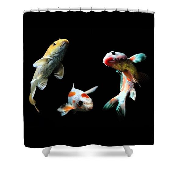 Goldfish Shower Curtain Goldfish Bathroom Decor Black Fish