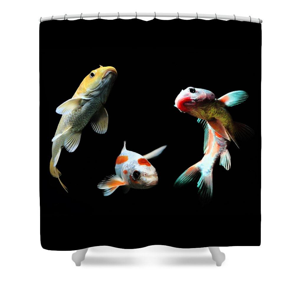 Goldfish shower curtain goldfish bathroom decor black fish for Koi fish bathroom decorations