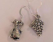 Mismatched Tibetan Silver Wine Decanter and Grape Cluster Earrings; 3D Ornate Silver Pitcher Earring; Single Sided Grape Cluster Earring