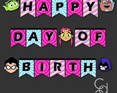 Teen Titans Go! Happy Day of Birth Birthday Banner with Teen Titans Go Cutouts