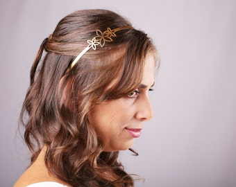 Bridal Headband, gold Headband, Bridal Headpiece, Flowers Headpiece,Flowers Headband, Greek Headband, Gold Hair Accessory, Gold Head piece