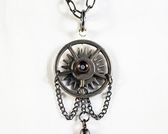 Kinetic pendant, geometric necklace, circle pendant, steampunk necklace, gothic necklace, industrial necklace,