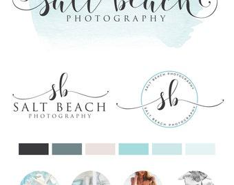 Watercolor Logo Design, Custom Logo Design, Teal Branding kit Logo Design Premade Branding Package, stamp,  Photography Logo, watermark