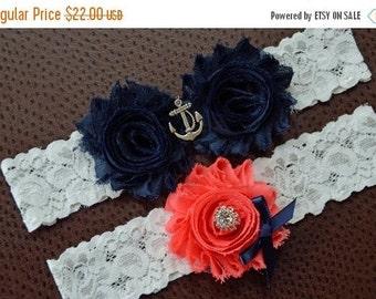 ON SALE Navy Wedding Garter, Nautical Garter, Anchor Bridal Garter Set, Wedding Garter, Nautical Garter, Navy Wedding Garter, Anchor Garter