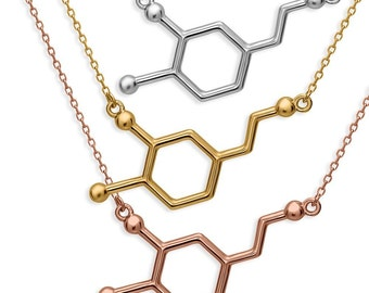 Dopamine Molecule Necklace 925 Sterling Silver Rhodium 18K Gold Rosé Gold Plating by Serebra Jewelry