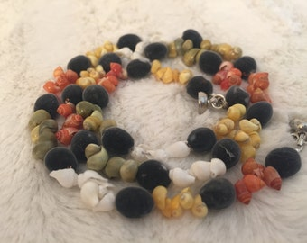 Velvet RARE Hawaiian Seeds/ White, Green, Yellow & Red Shells / Exotic Mgambo Seeds/ Necklace and bracelet set/ FREE EARRINGS