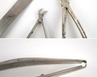 Vintage Medical Tools, Vintage Dentist Tools, Vintage Tongue Depressor, Stainless Steel Tools, Medical Oddities Collection