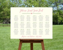 PRINTABLE Large Wedding Seating Chart, Custom Table Plan, Find Your Seat Sign, Table Assignment Board, Pink & Ivory Wedding, DIGITAL FILE