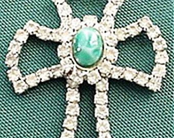 Rhinestone Cross with Green Center Stone