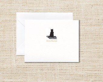 Cat Personalized Stationery - Set of 20 - Folded Note Cards