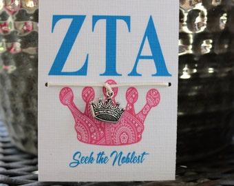 Zeta Tau Alpha Crown Wish Bracelet