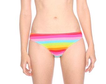 Rainbow PRIDE knickers- ROYGBIV cute sweet kawaii colorful striped panties, cotton spandex, lgbt knicker panty undies underwear bikini brief