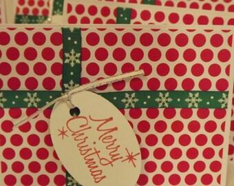 Christmas Greeting Cards Set of 7 Handmade Christmas Colors Merry Christmas Tag