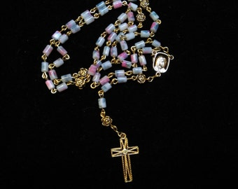 Pretty, Floral Beaded Rosary