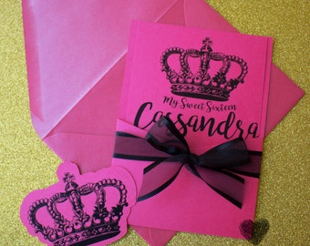 Sweet Sixteen Invitation Hot Pink/ Black and Pink Invitation / Crown Invitation