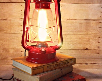 Lantern Light, Lantern Night Light, Lantern Lamp, Electric Kerosene Lantern, Electric Lantern, Table Lamp, Red Table Lamp, Red Lantern