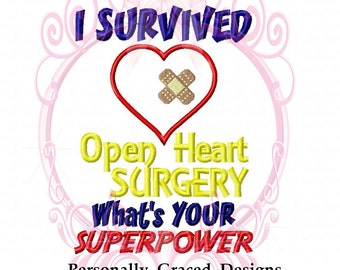 I Survived Open Heart Surgery What's your SuperPower with Bandage Heart Applique Machine Embroidery Design Saying, 5x7 hoop Instant Download