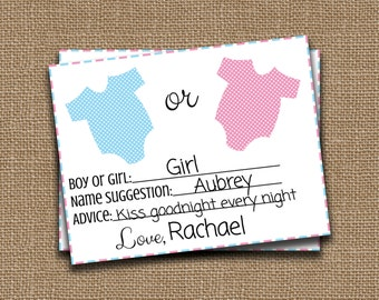 Gender Reveal Prediction Cards - Instant Download - Printable