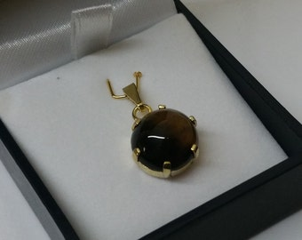 835 silver Tiger eye gold plated pendant vintage old SK738