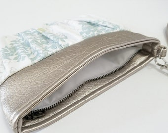 Blue and White Gathered Wristlet - Medallion Design Print, Gold Faux Leather, Blue, White, Lime Green, Matte Satin, Cotton Duck