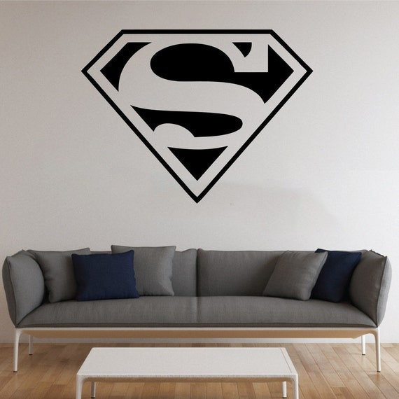 Superman logo wall sticker avenger vinyl decal comics wall for Stickers decorativos
