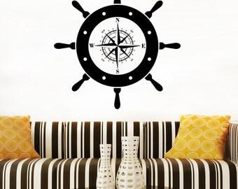 Ship Wheel Wall Decal Steering Wheel Vinyl Sticker Helm Decals Home Art Decor (8spwl)